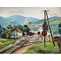 Droga żelazna ze słupem telegraficznym, 1936, ol., tektura, 26,7 x 35, wł. prywatna, fot. M. Jaroszewski