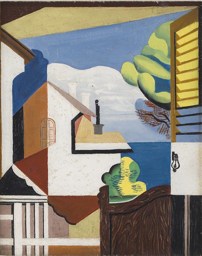 Widok przez okno, 1932, ol., tektura, 27 x 22, Muzeum Narodowe w Poznaniu, nr inw. Mp. 3035