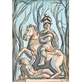 Pomnik króla Jana III, gwasz, papier, 13 x 9, wł. prywatna, fot. M. Jaroszewski