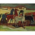 Konie, 1947, ol., płótno, 73,5 x 102, wł. prywatna (?)