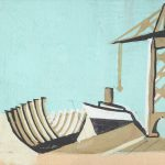 Dźwig portowy, ok. 1930, gwasz, papier, 7,5 x 9,8, wł. prywatna, fot. M. Jaroszewski
