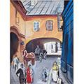Ulica Kozia z dorożką, gwasz, papier, 13 x 9, wł. prywatna, fot. M. Jaroszewski
