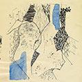 Kompozycja abstrakcyjna z niebieskimi plamami, 1964, tusz, akwarela, ołówek, papier, Łódź, Muzeum Sztuki, nr inw. MS/SN/RYS/476