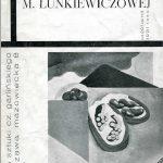 Okładka katalogu pierwszej wystawy indywidualnej Marii Ewy Łunkiewicz w Salonie Czesława Garlińskiego w Warszawie w 1931 roku. Projekt katalogu wykonał Henryk Stażewski. Wł. Biblioteki Muzeum Narodowego w Poznaniu