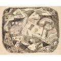 Kompozycja abstrakcyjna, 1959, tusz, gwasz, papier,20 x 25,5, Muzeum Narodowe we Wrocławiu, nr inw. MNWr XIX-6790