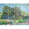 Krajobraz – krowy pod lasem, ok. 1942, gwasz, tektura, wł. prywatna, fot. M. Jaroszewski