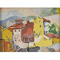 Krajobraz miejski z drzewem, 1932, gwasz, 21 x 28,5, Muzeum Narodowe w Poznaniu, nr inw. MNP Mp 3034
