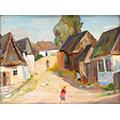Domy na wsi, lata 40-te (?), ol., tektura, 24,5 x 33, wł. prywatna, fot. M. Jaroszewski
