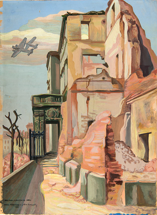 Warszawa, wrzesień 1939 (Pałać Krasińskich od ul. Traugutta), gwasz, karton, 43,8 x 32 (w świetle passe-partout), Muzeum Narodowe w Poznaniu, nr inw. MNP Gr 3246.
