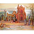 Kościół św. Michała, Warszawa, ul. Puławska, 1945, gwasz, papier, 24,5 x 33, 5 (w świetle passe – partout), wł. prywatna, fot. M. Jaroszewski