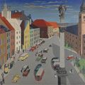 Plac Zamkowy, 1939, ol., płótno, 90,5 x 90,5, Muzeum Warszawy, nr inw. MHW 2995