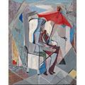 Kompozycja z czerwoną parasolką, 1957, ol., płótno, 92 x 73, Muzeum Okręgowe im. Leona Wyczółkowskiego w Bydgoszczy, nr inw. MW/391/MWB