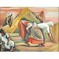 Żniwiarki, 1937, gwasz, tektura, 25 x 33,5, wł. prywatna (szkic do olejnego obrazu o tym samym tytule, wł. prywatna), fot. M. Jaroszewski