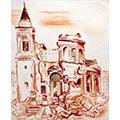Kościół św. Aleksandra, 1945, gwasz, papier, 43 x 35, wł. prywatna, fot. M. Jaroszewski