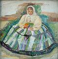 Łowiczanka, 39,5 x 38,5, ol., płótno, wł. prywatna, fot. M. Jaroszewski